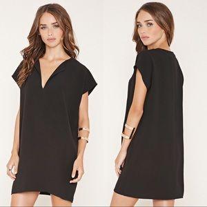 Forever 21 Black V Neck Shift Crepe Dress